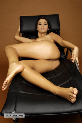 Nice Babe In A Leather Chair - 01