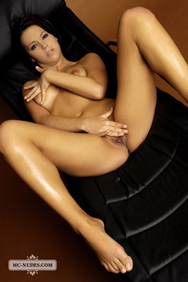 Nice Babe In A Leather Chair - 09