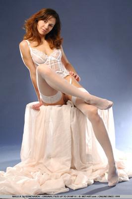 Hot Brunette In White Stockings - 08