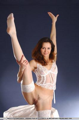 Hot Brunette In White Stockings - 10
