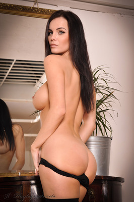 Busty Brunette Emma Glover in Black Stockings Undressing for Hayles Secrets - 13