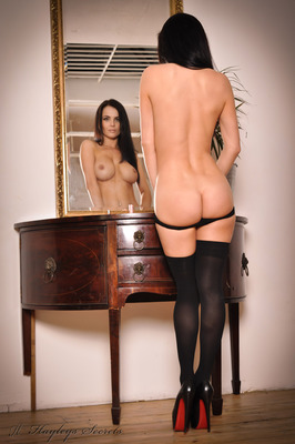 Busty Brunette Emma Glover in Black Stockings Undressing for Hayles Secrets - 14