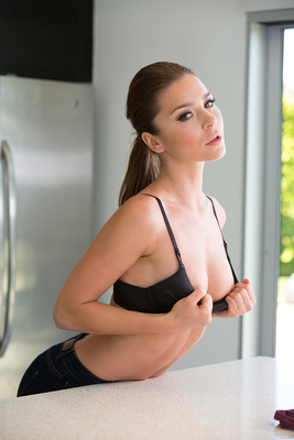 Lily Chey Stripping On The Kitchen Island - 07