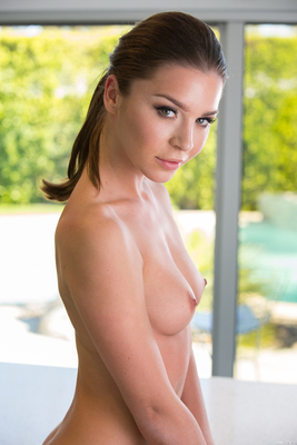 Lily Chey Stripping On The Kitchen Island - 13