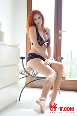 Lucy V in Black and Pink Lingerie - 03
