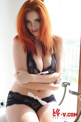 Lucy V in Black and Pink Lingerie - 04