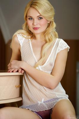 Lovely Blonde Teen Talia in Seethru White Top via MPL-Studios - 00