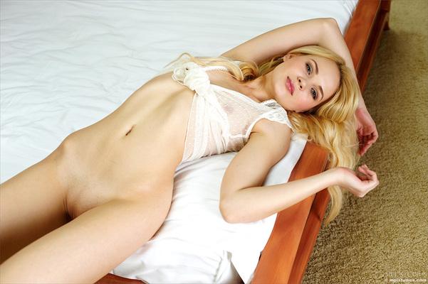 Lovely Blonde Teen Talia in Seethru White Top via MPL-Studios - 06