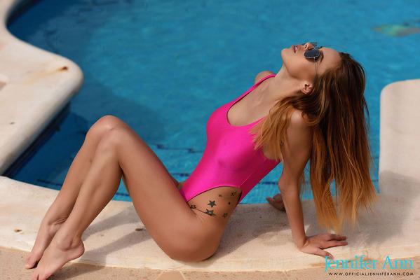 Jennifer Ann Sexy Pink Swimsuit - 09