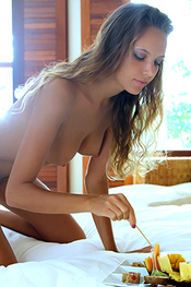 Lovely Young Curly Blonde Girl Clover Nude in my Room for X-Art