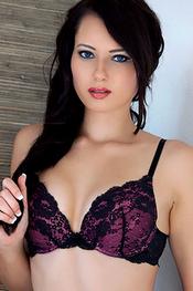 Hot Brunette Cutie Natasha Belle Agaist The Wall in Sexy Lingerie