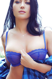 Elena Romanova in Blue Shirt for Playboy