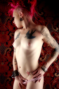 Tattood Punk Girl with Pink Hair in Tapestry Reissue for Gods Girls