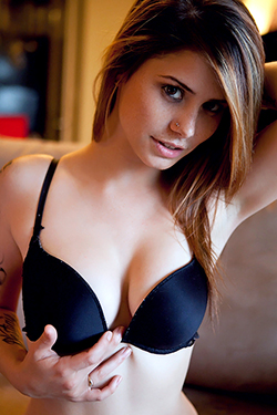 Hailey Leigh In Black Bra