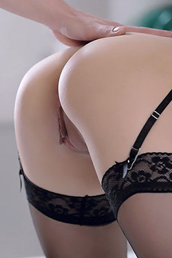 Young Cute Brunette Dina Fucked In Black Lingerie For X-Art