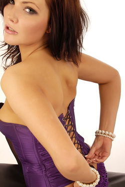 Hot Brunette Chloe James Posing In Purple Corset