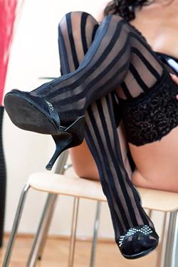 Brigitte Hunter in stockings Live