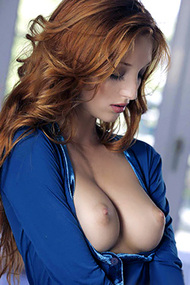 Amazing Redhead Michelle Strips For The Babes Network
