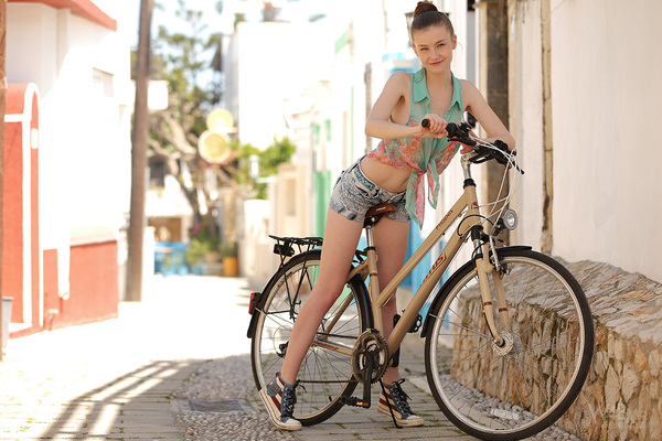 Emily is Sexy on a Bicycle via Watch4Beauty - 00